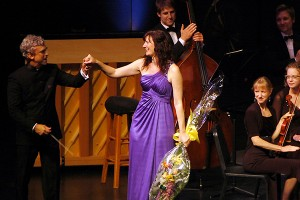 Conductor Jerry Junkin and pianist Michelle Schumann following their performance of George Gershwin's Rhapsody in Blue. Saturday, June 9, 2012.